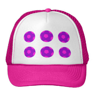Purple and Pink Soccer Ball Pattern Trucker Hat