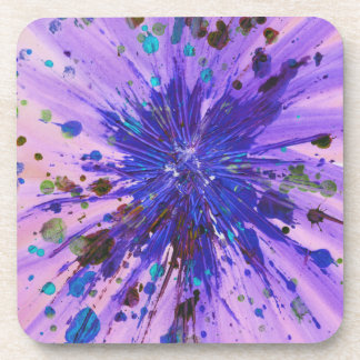 Purple and Pink Star Abstract Art Acrylic Painting Coaster