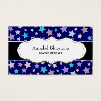 Purple and Pink Star Pattern business cards