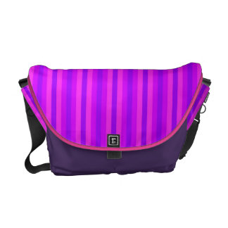Purple and Pink Stripey Hippie Pattern Messenger Bags