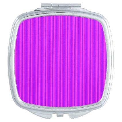 Purple and Pink Stripey Hippie Pattern Travel Mirror