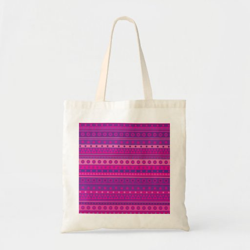 Purple and Pink Stripy Stars and Spots Pattern Bag