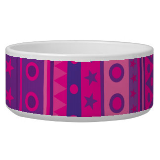 Purple and Pink Stripy Stars and Spots Pattern Bowl