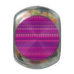Purple and Pink Stripy Stars and Spots Pattern Glass Jars