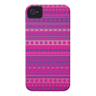 Purple and Pink Stripy Stars and Spots Pattern iPhone 4 Case-Mate Case