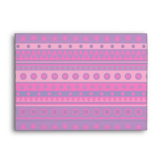 Purple and Pink Stripy Stars and Spots Pattern Envelope