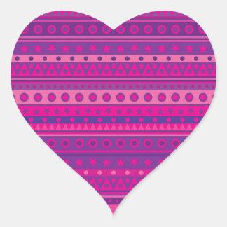 Purple and Pink Stripy Stars and Spots Pattern Heart Sticker