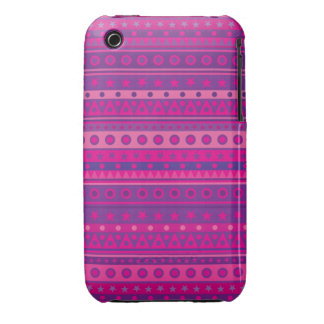 Purple and Pink Stripy Stars and Spots Pattern iPhone 3 Cases