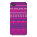 Purple and Pink Stripy Stars and Spots Pattern iPhone 4/4S Covers