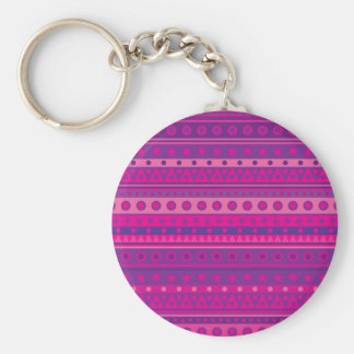 Purple and Pink Stripy Stars and Spots Pattern Key Chain