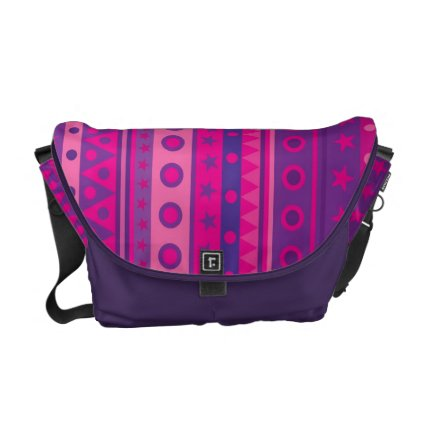 Purple and Pink Stripy Stars and Spots Pattern Commuter Bag