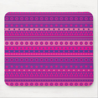 Purple and Pink Stripy Stars and Spots Pattern Mouse Pad