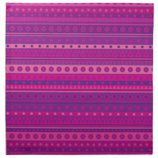 Purple and Pink Stripy Stars and Spots Pattern Printed Napkins