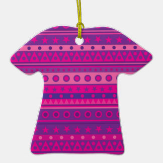 Purple and Pink Stripy Stars and Spots Pattern Ornaments