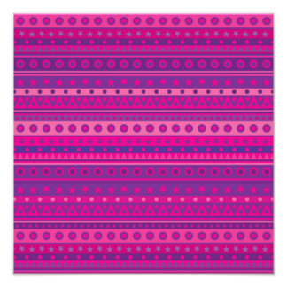 Purple and Pink Stripy Stars and Spots Pattern Photo Print