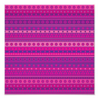 Purple and Pink Stripy Stars and Spots Pattern Art Photo