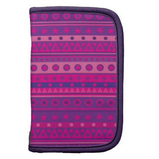 Purple and Pink Stripy Stars and Spots Pattern Folio Planners