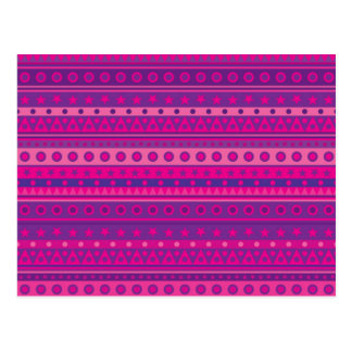 Purple and Pink Stripy Stars and Spots Pattern Postcard