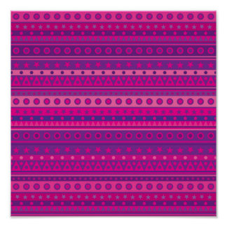 Purple and Pink Stripy Stars and Spots Pattern Poster
