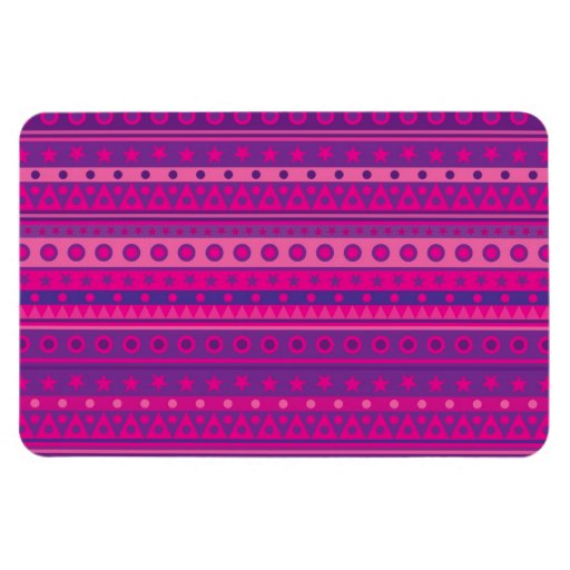 Purple and Pink Stripy Stars and Spots Pattern Rectangular Photo Magnet