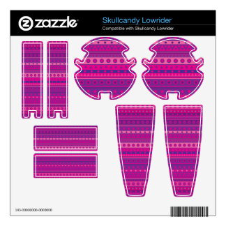 Purple and Pink Stripy Stars and Spots Pattern Skullcandy Decals