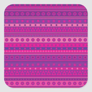 Purple and Pink Stripy Stars and Spots Pattern Square Sticker