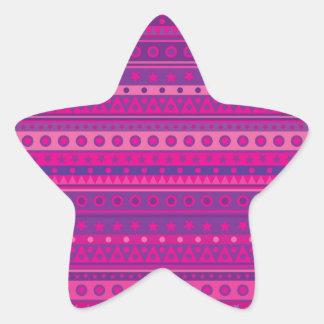 Purple and Pink Stripy Stars and Spots Pattern Star Sticker