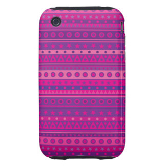 Purple and Pink Stripy Stars and Spots Pattern Tough iPhone 3 Case