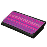 Purple and Pink Stripy Stars and Spots Pattern Leather Wallets