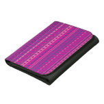 Purple and Pink Stripy Stars and Spots Pattern Trifold Wallet