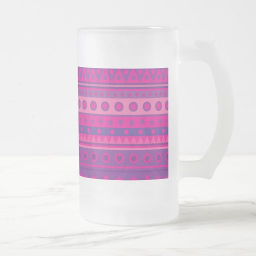 Purple and Pink Stripy Stars Spots Pattern Glass 16 Oz Frosted Glass Beer Mug