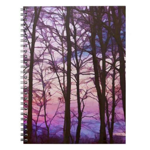 Purple And Pink Sunset Behind the Trees Notebook