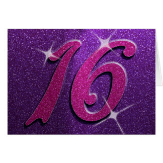 Purple and Pink Sweet Sixteen Birthday Card