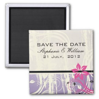 Purple and Pink Swirl Save the Date Magnet magnet