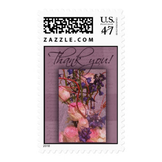 Purple and pink thank you postage