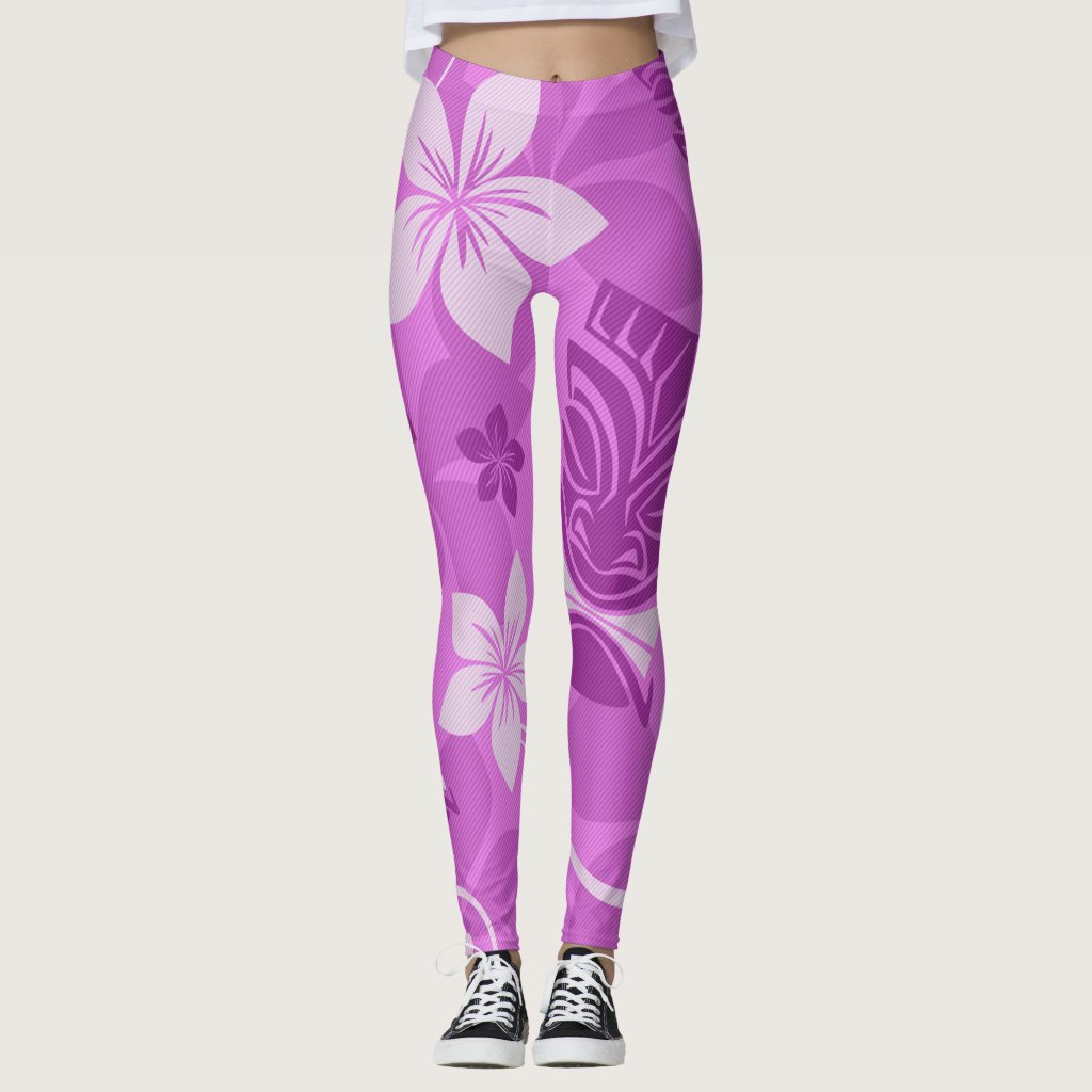 Purple and Pink Tiki Hawaiian Leggings