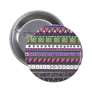 Purple and Pink Tribal Pattern Button