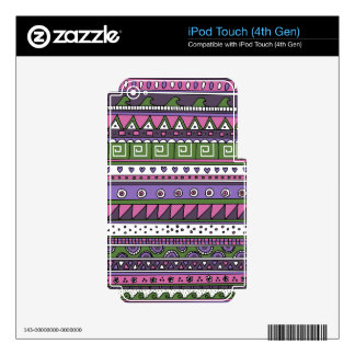 Purple and Pink Tribal Pattern Decal For iPod Touch 4G
