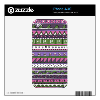 Purple and Pink Tribal Pattern iPhone 4S Decals