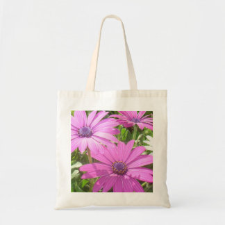 Purple And Pink Tropical Daisy Flower Canvas Bags
