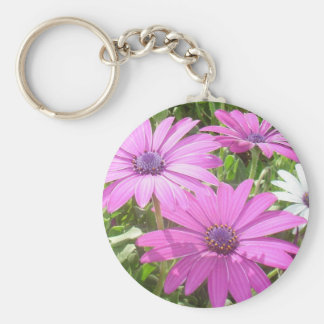 Purple And Pink Tropical Daisy Flower Basic Round Button Keychain