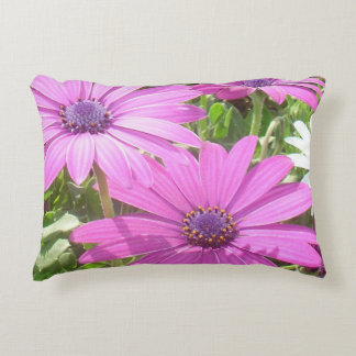 Purple And Pink Tropical Daisy Flower Decorative Pillow