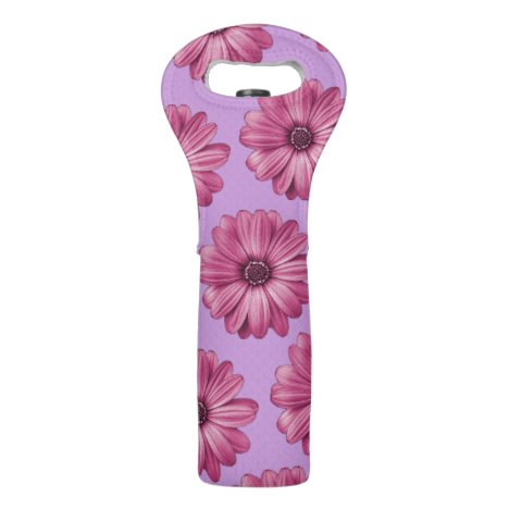 Purple and Pink Tropical Floral Print Wine Bag