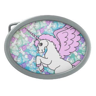 Purple and Pink Unicorn Pattern Belt Buckle