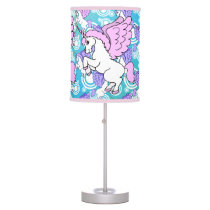 Purple and Pink Unicorn Pattern Desk Lamp