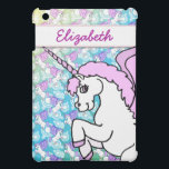 """Purple and Pink Unicorn Pattern iPad Mini Cover<br><div class=""""desc"""">Cute White Unicorn with Pink hair and wings with a pattern of Unicorn background in gradient blue. Fully customizable. The Big Unicorn can be moved around and resized.</div>"""