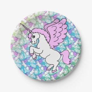 Purple and Pink Unicorn Pattern Paper Plate
