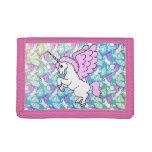 Purple and Pink Unicorn Pattern Trifold Wallets