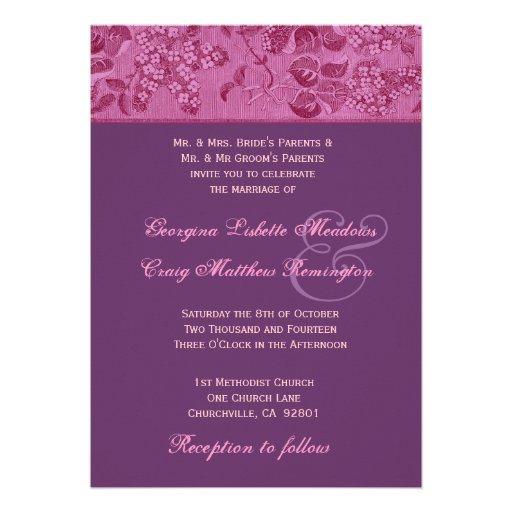 Purple And Pink Vintage Floral Wedding Template Invitations