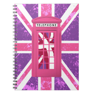 Purple and Pink Vintage Phone Booth Notebook